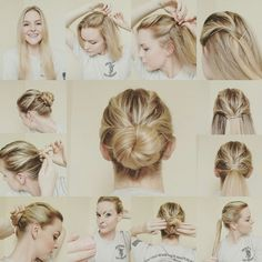 Twisty bun-updo (great for military) More