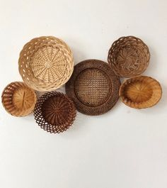 Set of 6 Woven Wall Baskets and Trivets / Basket Wall Collage / Wall Basket Set / Vintage Woven Bask
