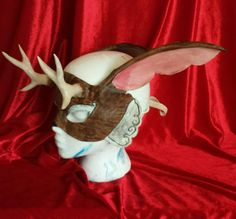 Check out this item in my Etsy shop https://www.etsy.com/listing/287114179/jackalope-mask-soft-but-deadly
