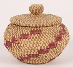 native american baskets | Native American Indian Pine Needle Lidded Basket
