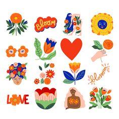 Journal Stickers, Planner Stickers, Printable Stickers, Cute Stickers, Art Mignon, Korean Stationery, Bullet Journal Art, Doodle Art, Gouache