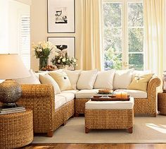 Bright living room with Seagrass Sofa. {potterybarn.com}