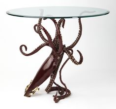 "LEGEND - bronze, Limited edition  of 20, from 2012. giant squid 30"" tall with a 36"" round top. by Kirk McGuire Bronze Sculpture Studio"