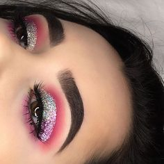 • @certifeye lashes in cosmo and pink glitter @anastasiabeverlyhills dip brow in dark brown and contour kit in light to medium @norvina @thebalm_cosmetics Mary Lou Manizer @coastalscents shadows in vibrant azalea fuchsia and vibrant pink @makeupgeekcosmetics shadows in Tuscan sun, cupcake and fashion addict @marlena_stell @nyxcosmetics glitter in crystal @shopvioletvoss glitter glue @doseofcolors hidden treasures palette @makeupforeverofficial hd Stick Foundation @katvondbeauty setting...