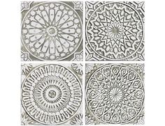 4 Moroccan wall hangings made from ceramic - Set of 4 - Moroccan wall art - Moroccan wall hanging - handmade tile - white