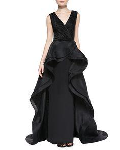 Christian Siriano--Sleeveless Flounce Overlay Gown, Black