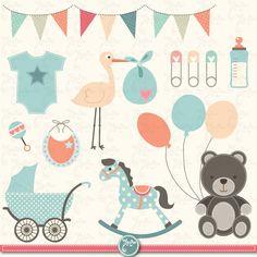 Baby Shower Clipart BABY SHOWER clip art birth by YenzArtHaut, $5.00
