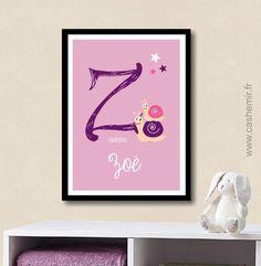 Affiche Lettre Prénom bébé enfant personnalisée, plaque de porte chambre fille, cadeau de naissance - Fichier Imprimable - n°5 : Décoration pour enfants par cashemir
