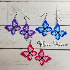Iron beads butterfly earrings (earrings) - Butterfly earrings perler beads by NaCO CHoCO - Melty Bead Patterns, Pearler Bead Patterns, Perler Patterns, Beading Patterns, Peyote Patterns, Quilt Patterns, Perler Earrings, Diy Perler Beads, Perler Bead Art