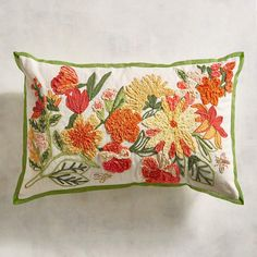 Discover unique patterned pillows and other decorative accent pillows at Pier 1 Imports. Shop an array of floral, striped, geometric, animal print and more today! Best Pillows For Sleeping, Chain Stitch Embroidery, Brazilian Embroidery, Sewing Pillows, Vintage Fabrics, Lumbar Pillow, Decorative Throw Pillows, Embroidery Designs, Floral