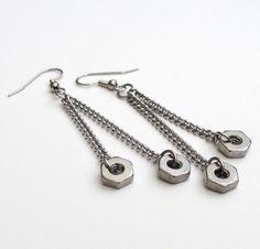 Stainless steel hex nut earrings, hardware jewelry