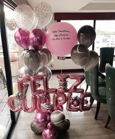 Sweet Table Decorations, Birthday Party Decorations For Adults, Balloon Decorations, Balloon Flowers, Balloon Bouquet, Ballon Arrangement, Mothers Day Balloons, Happy Birthday Flower, Mexican Birthday