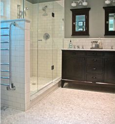 Marble hexagon and Ceramic subway Mix Marble Tile Bathroom, Wood Look Tile, Calacatta, Guest Bath, Bath Accessories, Double Vanity, Master Bathroom, Ceramics, Bathrooms