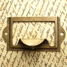 Antique Brass Label Holders   Set Of 5   Drawer Pull Handle, Card Holders  Metal Label Frames (LH0001)