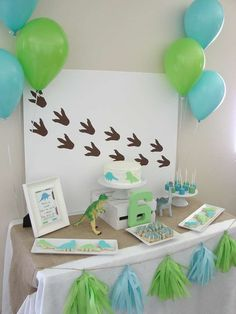 Blue and green dinosaur birthday party! See more party ideas at CatchMyParty.com!