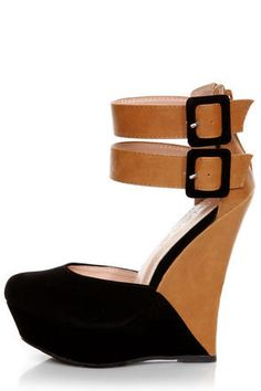 9e184888 Get into the Monaco mood with your Monaco 2 Black and Tan Belted Color  Block Wedges! Black peep toe vamp with a tan vegan leather heel cup.