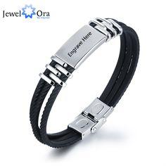 Personalized Engrave Bracelets For Men Stainless Steel Customization 210mm Length Bracelets & Bangles (JewelOra BA101450)
