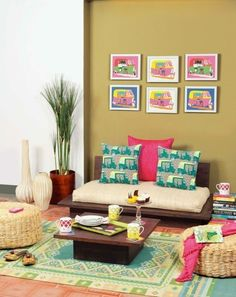 30 interior design ideas in Indian style for a colorful, exotic home Today, we are talking about a magical living trend that exudes true joie de vivre and soothing coziness – the Indian Style… Decor, Indian Home Interior, Indian Room, Mid Century Modern Living Room, Bedroom Decor, Home Decor, House Interior, Room Decor, Home Decor Furniture