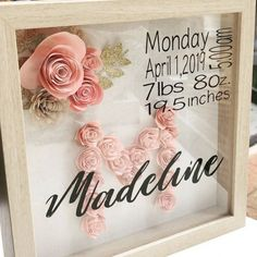 custom baby gift created with my cricut 363243526194072457 Custom Shadow Box, Diy Shadow Box, Baby Shadow Boxes, Shadow Box Frames, Custom Baby Gifts, Gifts For New Baby, Baby Crafts To Make, Baby Gift Box, Best Baby Gifts