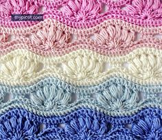 Crochet Ripple Puff Stitch Pattern: Diagram + step by step instructions over at MyPicot.