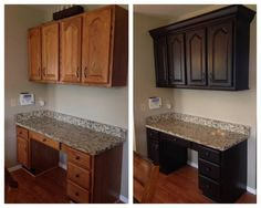 General Finishes Dark Chocolate Milk Painted Kitchen Cabinets | Created by Rescued Furnishings ~ http://www.rescuedfurnishings.com/