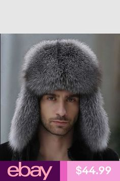 a9f509e7c4e Russian leather bomber leather hat men winter hats with earmuffs trapper  earflap cap man real raccoon fur black fox hatska