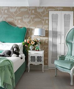 Fawn-galli-upholstered-headboard-teal-wallpaper fantastic green chair...