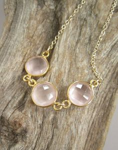 VALENTINE'S DAY GIFT OR JUST FOR ME GIFT! Rose Quartz Necklace Triple Gemstone Connector by julianneblumlo