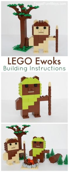 Here's a fun LEGO building project – construct some Ewoks! You can find step-by-step instructions below. These cute Ewoks fit well with the scale of our other LEGO Star Wars projects – and Yoda. We chose to make tan and brown Ewoks, with lime Lego Duplo, Lego Moc, Lego Minecraft, Minecraft Buildings, Lego Ninjago, Lego Club, Lego Disney, Pokemon Lego, Diy Star