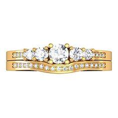 0.50 Carat (ctw) 14k White Gold Round Diamond Ladies 5 Stone Engagement Ring Matching Band Set 1/2 CT $389.00