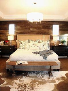 Rustic bedroom with cowhide rug #CowhideRugs