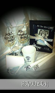 Custom - hand painted - wedding gift set. Comes with 2 wine glasses, 2 coffee mugs, 2 candles, 2 picture frames <3 $50/set