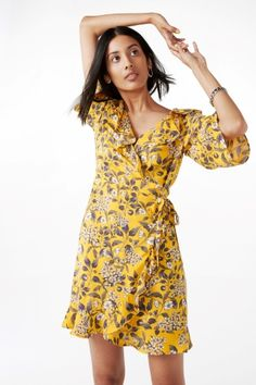 Monki Image 2 of Floral wrap dress in Yellow Reddish