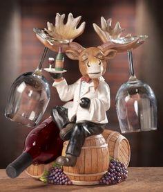 Wine Rack Storage Holder Home Bar Pub Glass Bottles Moose Waiter Cellar Kitchen Wine Rack Storage, Wine Racks, Moose Decor, Brown Kitchens, Collections Etc, Wine Bottle Holders, Glass Bottles, Wine Bottles, Kitchen Decor