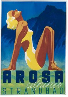 Arosa Swizerland ~ Fine-Art Print - Vintage Travel Art Prints and Posters - Vintage Travel Pictures Vintage Beach Posters, Vintage Ads, Retro Illustration, Illustrations, Buy Posters, Cool Posters, Brother Where Art Thou, Poster Retro, Art Graphique