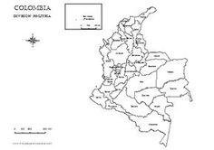 Mapa político de Colombia con nombres para colorear.