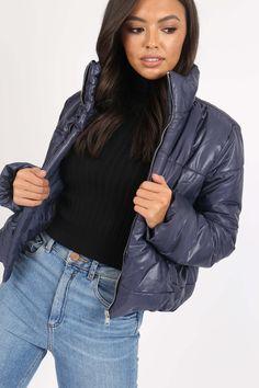 Dámska tmavomodrá prešívaná bomber bunda Bomber Jacket, Jackets, Fashion, Down Jackets, Moda, La Mode, Bomber Jackets, Jacket, Fasion