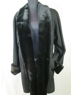 DONNYBROOK Black Wool Swing Coat with Fur Trimmed Collar and Cuffs size 8 #DONNYBROOK #BasicCoat