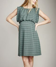 ba0d68a5698 Take a look at this Mojito Stripe Maternity Cape-Sleeve Dress by Maternal  America on