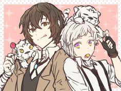 The white tiger cubs tho! Dazai Bungou Stray Dogs, Stray Dogs Anime, Anime Manga, Anime Guys, Anime Art, Anime Friendship, Dazai Osamu, Dog Wallpaper, African Elephant