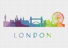 Cross Stitch Pattern London England Europe City Silhouette Watercolor Effect…