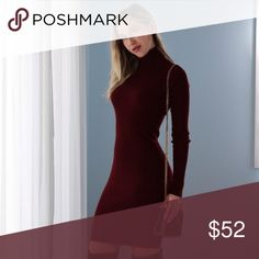 🆕Serendipity Sweater Dress   Wine ◽️ The Serendipity Dress is a romantic number for date nights + also beautiful going into the holidays! 💋 Luxurious classy ribbed sweater material in a stunning wine color. Hits above the knee. Curve hugging and so flat