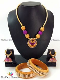 Handmade silk thread necklace. Please visit our facebook page for latest jewelry. Please send us a message on facebook and we can assist you to buy through paypal. We also take custom jewelry orders