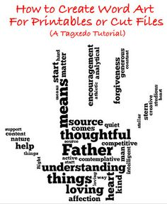 How to create word art for printables or cut files using a free program called Tagxedo with a great tutorial for how to use it! Should you appreciate arts and crafts you really will enjoy this website! Blackwork, Tagxedo, Diy Cutting Board, Cricut Tutorials, Cricut Ideas, Scan And Cut, Create Words, Subway Art, Silhouette Cameo Projects