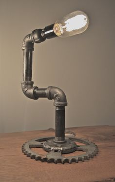 Industrial LAMP with motorcycle sprocket base by IronGuerrilla, $100.00