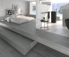 Porcelain tiles Elara-R gris cm. Porcelain Wood Tile, Ceramic Floor Tiles, Wall Tiles, Tile Floor, Moonlight, Dining Bench, Marble, Flooring, Interior Design