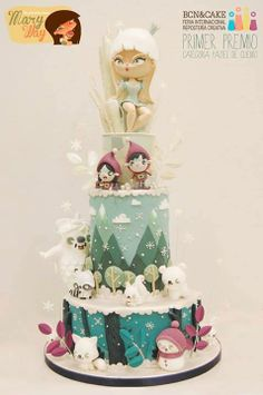 The snowqueen looks way too big in proportion to the rest of the cake, but still, very cute cake.