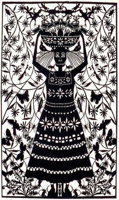 "Margarita Fick, ""Escanear,"" 2007, papel picado via The Folk Tree"