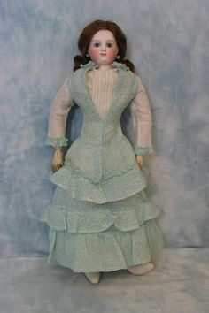 """1870's 16"""" French Fashion Blampoix Bisque Doll Antique Wig & Pate"""