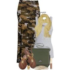 """Camo maxi skirt"" I want this outfit! Camo Fashion, Military Fashion, I Love Fashion, Fashion Outfits, Womens Fashion, Fashion Trends, Camouflage Fashion, Military Style, Diva Fashion"